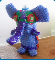 Blue Bubble Wrap Elephant made by school age kids